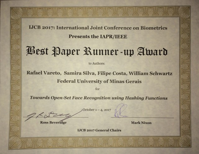 Best Paper Runner-up Award - IJCB 2017